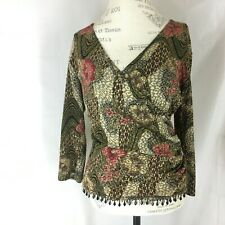 Dress Barn Collection size Medium Top Faux Wrap Beaded Hem Stretch Women