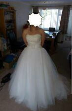 Size 10, white and cream wedding dress