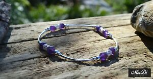 Handmade Stretch Anklet With Genuine Sterling Silver &  Amethyst