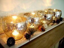 Bougies Noël miroir en verre craquelé Boule Bougie Tea Light Holder Tray Set Nouveau
