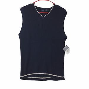 Izod Boys Blue Sleeveless Sweater Vest Large 14-16 New