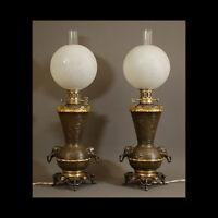 PEU COURANTE PAIRE DE LAMPES A REGULATEUR XIXème - UNUSUAL PAIR OF LAMPS XIXth
