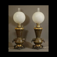 PEU COURANTE PAIRE DE LAMPES A REGULATEUR XIXème - UNUSUAL PAIR OF LAMPS XIXth