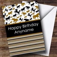 Stripy Horses Personalised Birthday Card