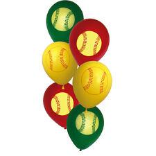 "6 Girl's Fastpitch Softball Baseball Party Decoration 12"" Printed Latex Balloons"