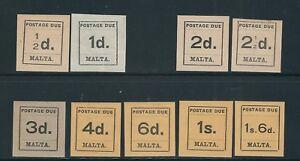 MALTA 1925 POSTAGE DUES (Scott J1-J10 short J3) F/VF MH read desc