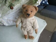 """10"""" Antique, Early Fully Jointed Mohair Teddy Bear With Original Clothes"""