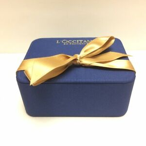 Beautiful Rectangular Royal Blue Fabric Box w/ Lid & Gold Ribbon by L'Occitane