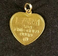 Heart Pendant - 24k Solid Gold (Hallmarked) purity 999.9