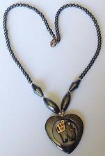 collier hématite pendentif coeur éléphant top qualité couleur or Mexique 3648