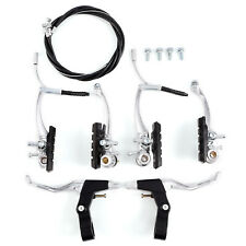 FRONT & REAR Bike MTB Hybrid V Brake Set Inner & Outer Cables and Lever Kit