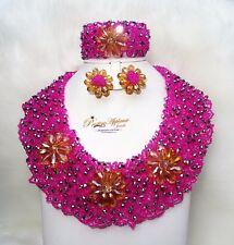 Pink Elegant Latest New Design African Beads Bridal Wedding Party Jewelry Set