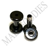 1459 Screw-on / fit Black 10G Gauge 2.5mm Flesh Tunnels Ear Plugs Earlets Steel