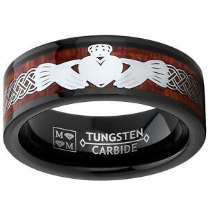 Men's Tungsten Claddagh Irish Celtic Ring Wedding Band Wood Inlay Black