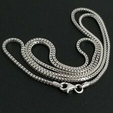 14K White Gold Over Sterling Silver Italian Foxtail Franco Box Chain Necklace