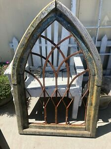 """Antique Arched Peak Shabby Chic Rustic Cottage Shutter Wooden Window Frame 40.5"""""""