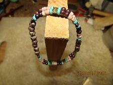Beautiful Unisex Handmade Stretch Bracelet, Turquoise, Jasper, Wood, Metal,