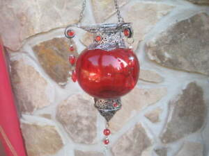 VTG Moroccan Hanging Candle Holder Ornate Metal Crafting Jeweled RED GLOBE NICE!