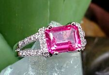 PINK TOPAZ AAA GRADE 1.90 CWT WITH 36 AAA GRADE 0.24 WHITE SAPPHIRES 14K WHT GLD