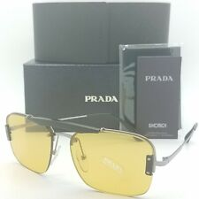 New Prada sunglasses PR56VS M4Y0B7 Gunmetal Black Yellow AUTHENTIC Aviator PS 56