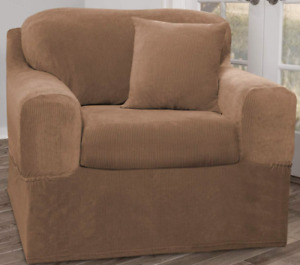 """NEW Banyo Slipcover 2-Piece Chair Furniture Cover Gold Fits 32""""-43"""" Wide"""
