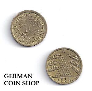 10 Reichspfennig 1924 1925 1926 1929 1930 1931 1932 1934 1935 1936 A D E F G J