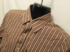 Mens Abercrombie & Finch Sz M Muscle Button Front Brown Stripe 100% Cotton L/S