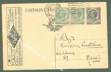 Storia postale Regno. THE IDEAL. Cartolina postale con tassello pubblicitario...