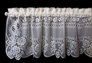"""Victorian Rose Ecru Country Cottage Lace Floral Window Valance 60"""" x 16"""""""