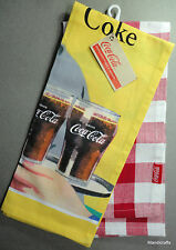 Coke Tea Towel Set 2 New Iconic Ad Diner Scene Red Checkered Coca Cola 2013 Tags