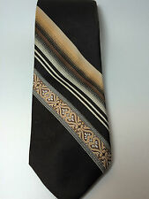 "Mr John Beau Brummel Tie Brown Tan Diagonal Stripe Vintage Necktie 3.5"" X 55"""