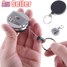 Retractable Metal Steel  Key Ring Pull Chain Holder Reel Recoil Belt Clip Snap
