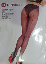 Tudorose One Size Sheer Seamed Tights with Detailed Panty in Black