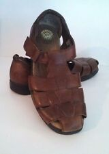 EARTH SHOE Womens Brown Leather Fisherman Sandals Shoes Heaven size11