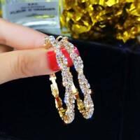 UK Women 18k Gold Filled Gorgeous Crystal Zirconia Hoop Earrings Jewelry Gift
