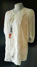 LIST Womans White & Pink Pleated Chiffon TOP BLOUSE - S - UK10 - EU38 - NEW
