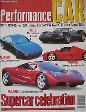 Performance Car 01/1993 featuring McLaren F1, Jaguar XJ13, Yamaha, Ferrari,Rover