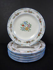 "Coxon American Belleek China Blue Floral Lunch Plates 9"" Set of 8"