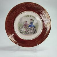 VINTAGE SALEM IMPERIAL CHINA CO SERVICE PLATE 23K GOLD VICTORIAN LADY