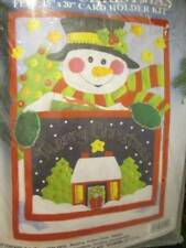 Merry Christmas (Snowman) Felt Card Holder Kit-Design Works