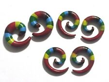 Rasta Spiral Ear Tapers Ear Plugs Hanger Gauges Ear Piercing 4/20 Jewelry