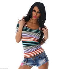 Markenlose gestreifte Damen-T-Shirts mit Rundhals