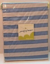 Jumping Beans Monkey Business Blue & White Striped Window Valance Curtain NEW