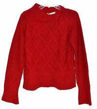Just One Earth JOE Red  Double Triangle Design Pull Over Sweater Sz L Italy NWT