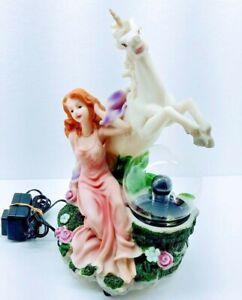 ELECO Resin 3D Woman and Fairy Unicorn Light and Plasma Lamp RARE!