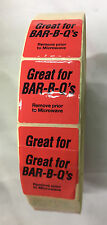 """2000 Pieces 8.2 Mhz Great for Bar-B-Ques Red Security Sticker Labels 1 1/2"""""""