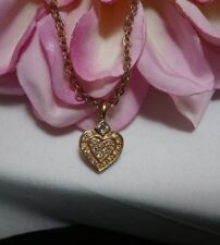 Gold Kirks Folly AB Crystal Heart Chain Necklace