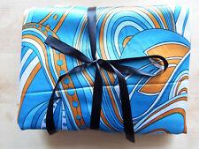 Grand coupon de tissu couleur chatoyante motif art déco turquoise 150 x 300 cm