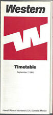 Western Airlines system timetable 9/7/83 Buy 2 get 1 free