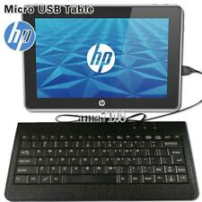 """Micro USB Leather Wired Keyboard Plug and play For Various 10"""" HP Tablet"""